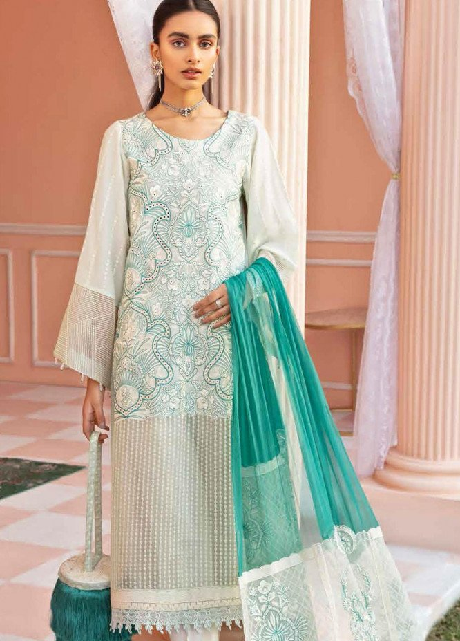 Nureh Embroidered Lawn Suits Unstitched 3 Piece NU21L 06 Rose Water - Luxury Collection