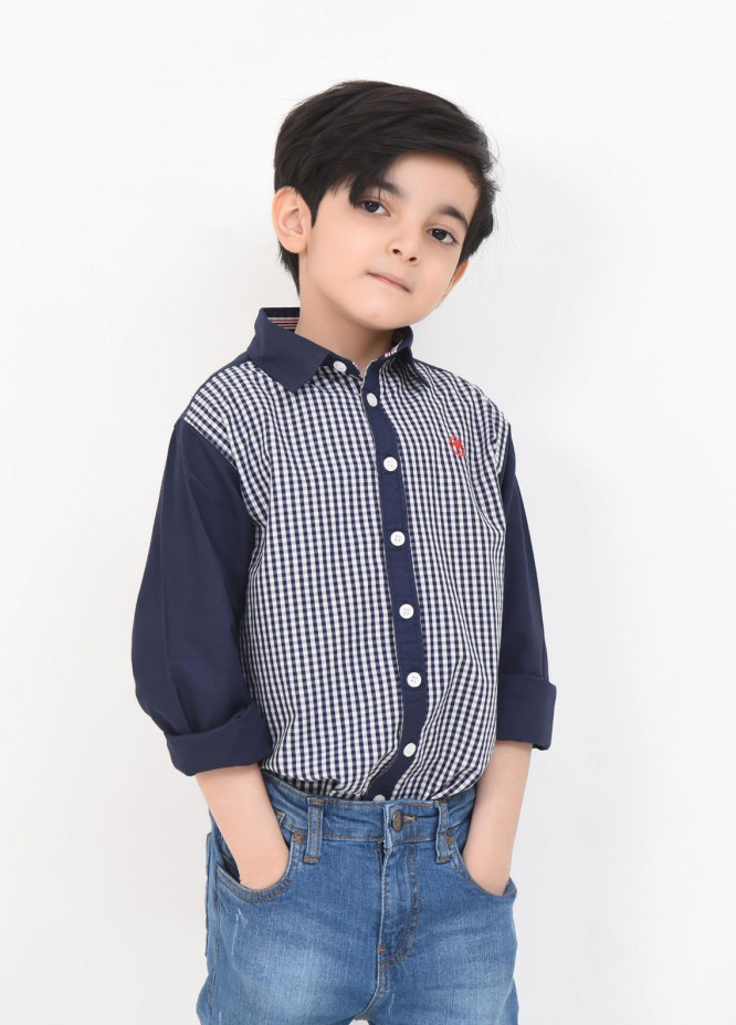 Ochre Cotton Casual Shirts for Boys -  OBS-16 Navy