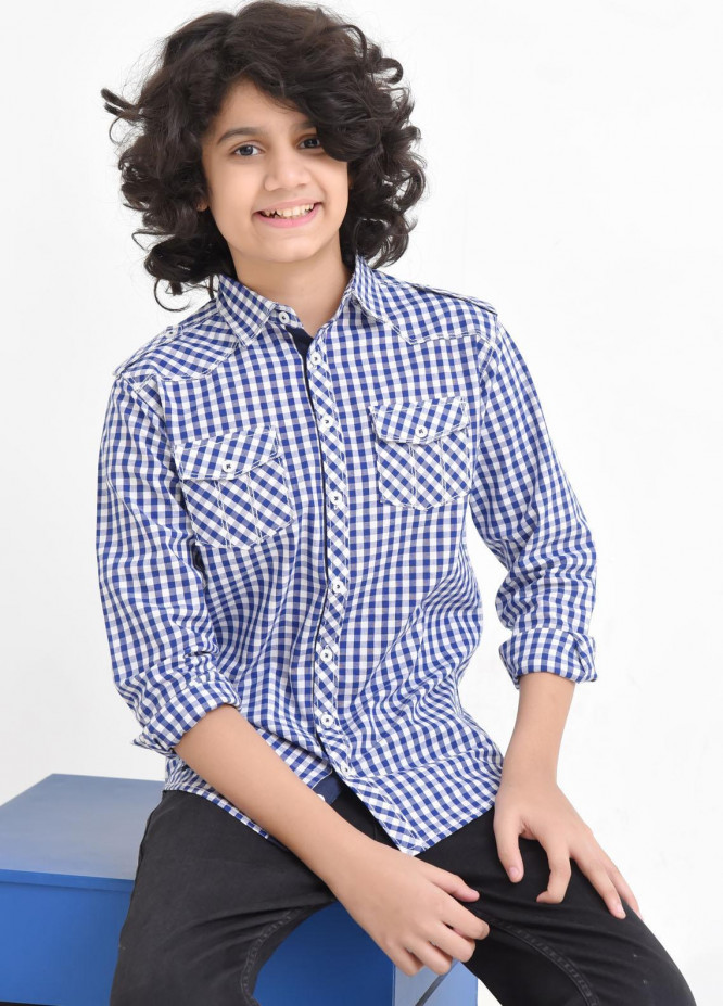 Ochre Cotton Casual Shirts for Boys -  OBS-19 Blue