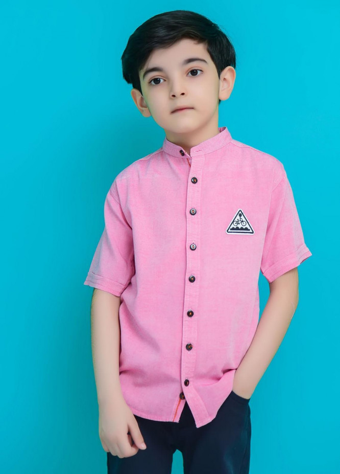 Ochre Cotton Casual Boys Shirts -  OBS-22 Pink