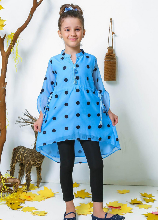 Ochre Silk Fancy Kurtis for Girls -  OFK 736 Blue