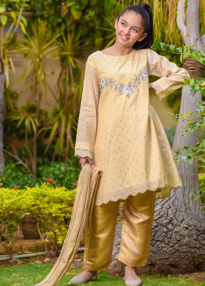 Ochre Cotton Fancy Girls 3 Piece -  OFW-267 Beige