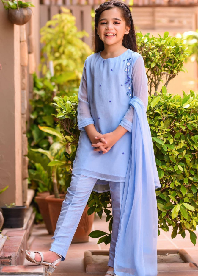 Ochre Chiffon Fancy Girls 3 Piece -  OFW-276 Chambry Blue