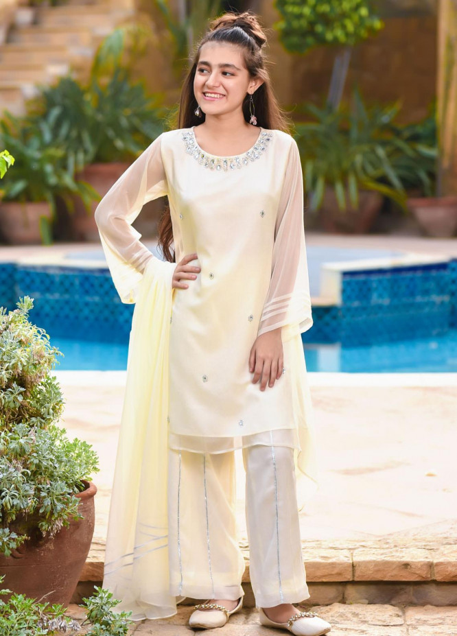 Ochre Chiffon Fancy Girls 3 Piece -  OFW-281 Off White