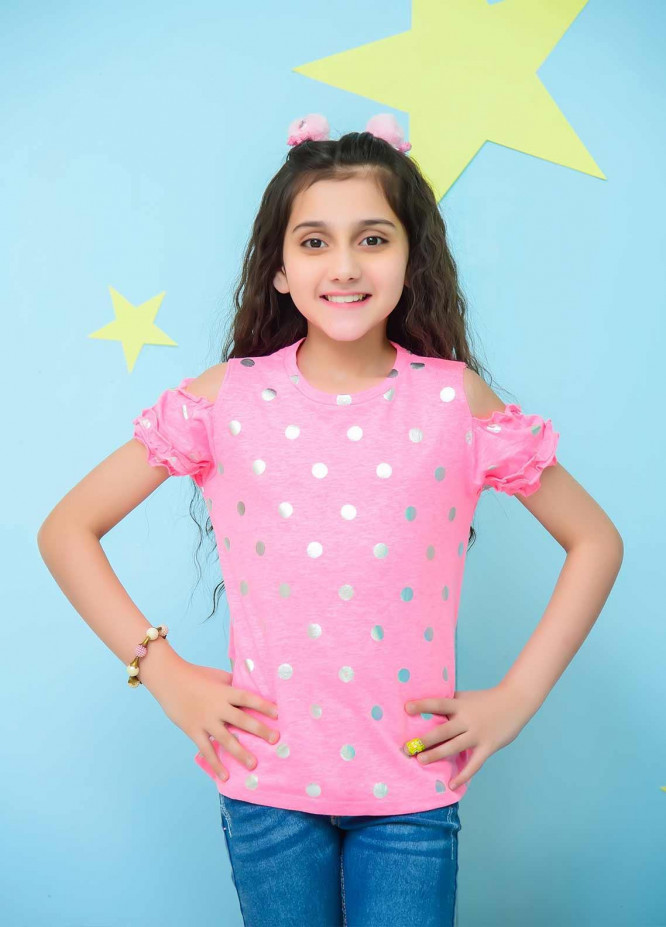 Ochre Cotton Fancy Western Tops for Girls -  OGK 72 Powder Pink