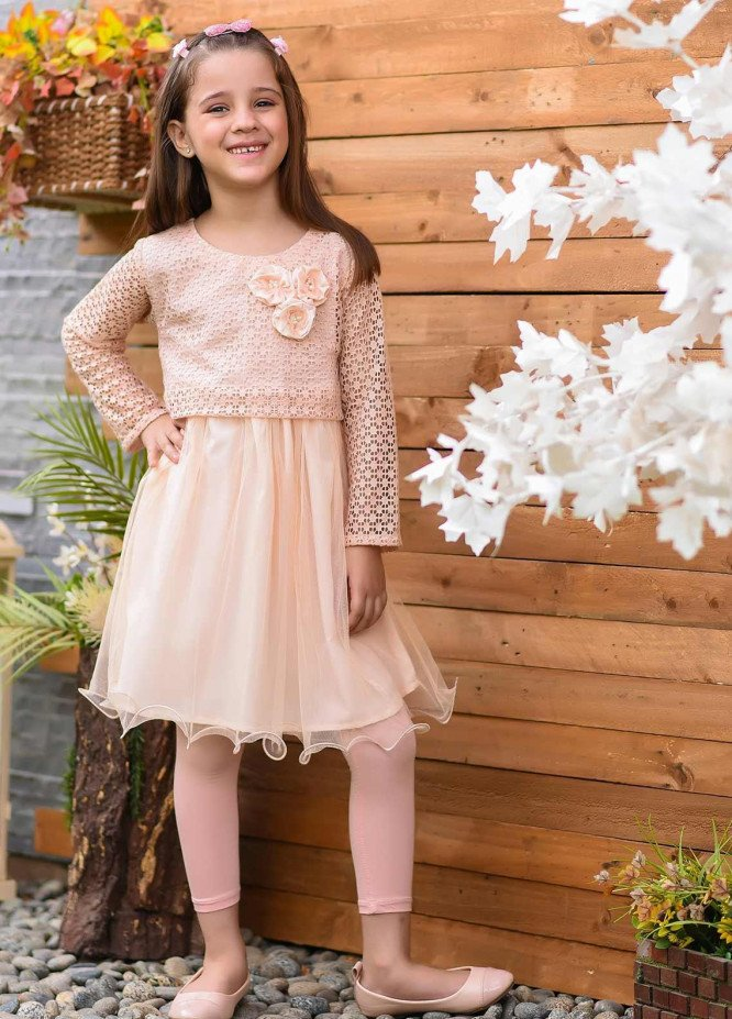 Ochre Net Fancy Western Tops for Girls -  OWT 387 Peach
