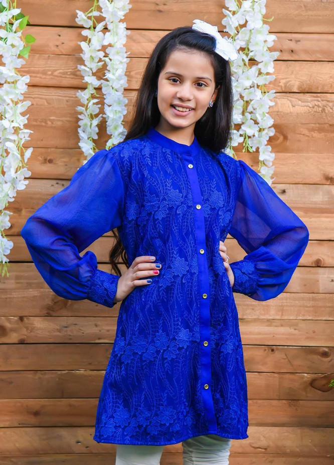 Ochre Net Fancy Western Tops for Girls -  OWT 400 Royal Blue