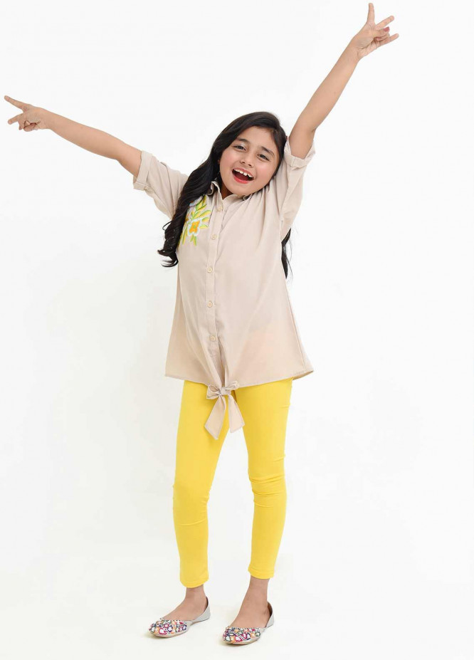 Ochre Georgette Fancy Western Tops for Girls -  OWT 410 Beige