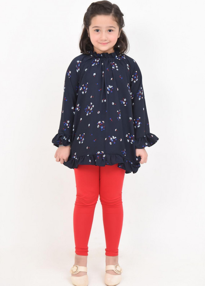 Ochre Georgette Fancy Top for Girls -  OWT-415 Navy