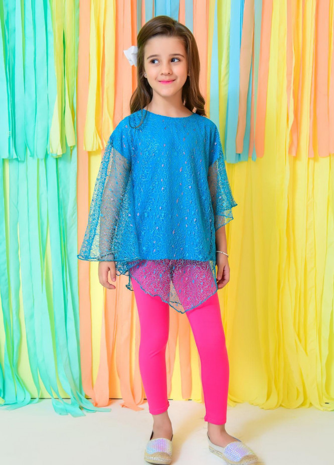 Ochre Net Fancy Top for Girls -  OWT-426 Ferozi