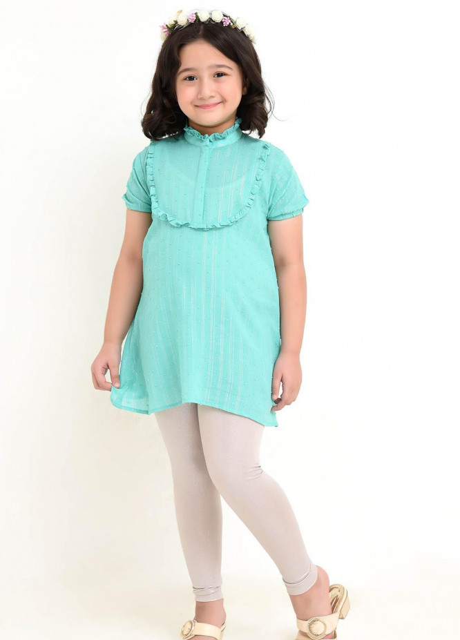 Ochre Cotton Fancy Girls Top -  OWT 440 Sea Green
