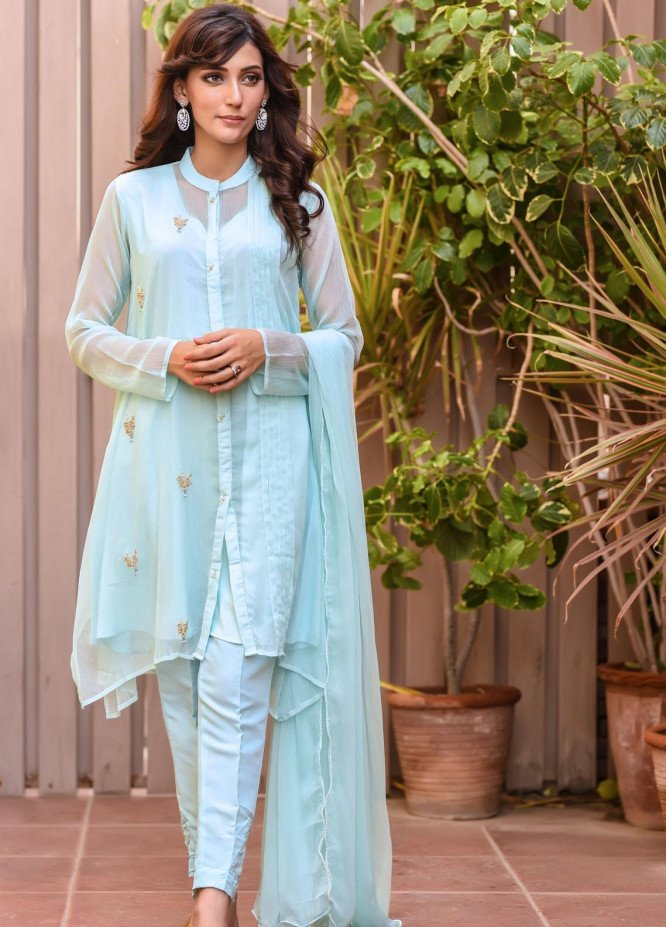 Ochre Embroidered Chiffon Stitched 3 Piece Suit OFW-271(M) Mint Green