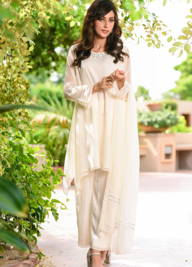 Ochre Embroidered Chiffon Stitched 3 Piece Suit OFW-281(M) Off White