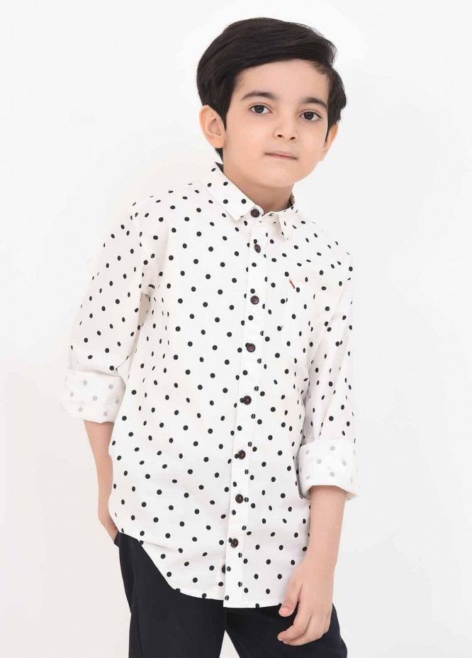 Ochre Cotton Casual Shirts for Boys -  OBS 01 White