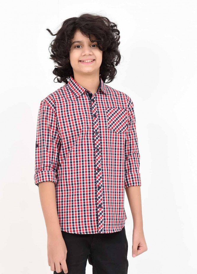 Ochre Cotton Casual Shirts for Boys -  OBS 03 Red