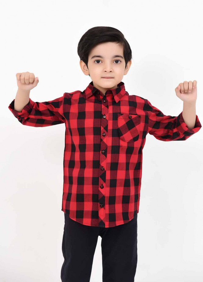 Ochre Cotton Casual Shirts for Boys -  OBS 05 Red