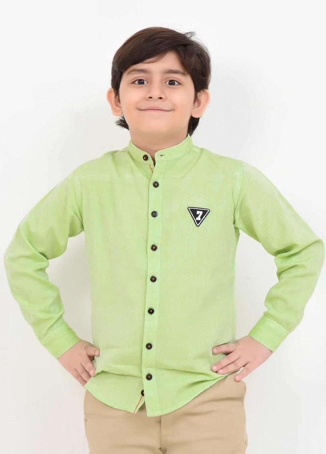 Ochre Cotton Casual Shirts for Boys -  OBS 12 Light Green