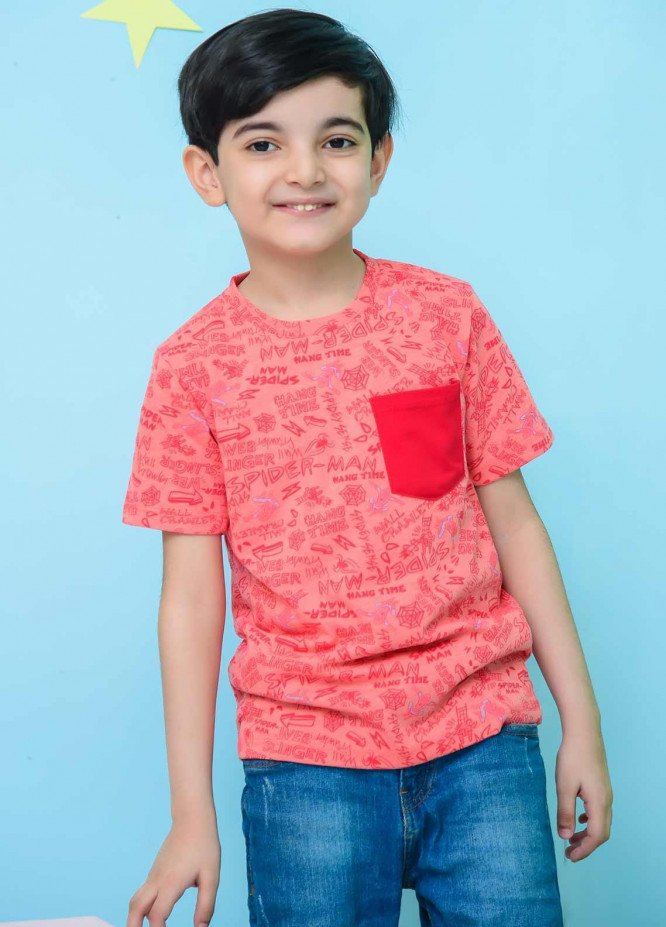 Ochre Cotton Casual T-Shirts for Boys -  OKB 65 Coral