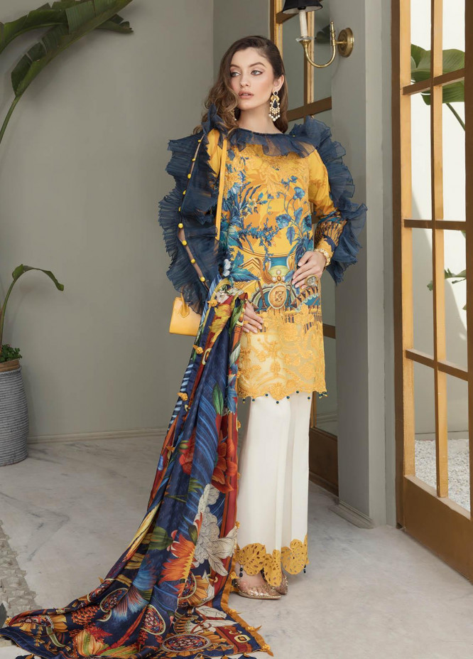 Ophelia By Epoque Embroidered Lawn Suits Unstitched 3 Piece EP21O 05 Amber Glory - Festive Collection