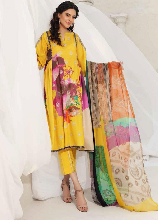 Orange Series by Charizma Embroidered Lawn Suits Unstitched 3 Piece CRZ21O 12 - Spring / Summer Collection