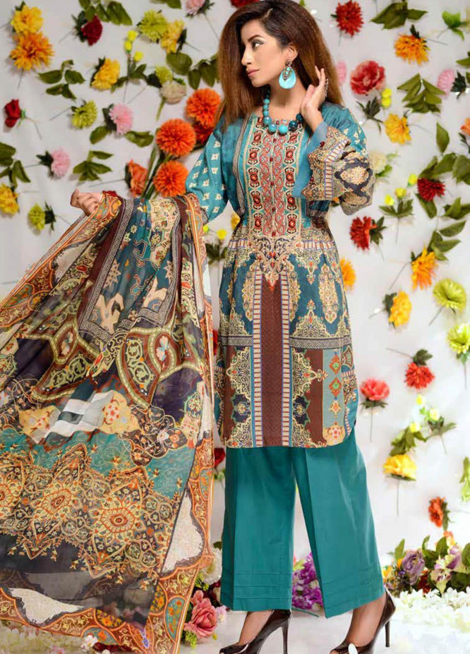 Orchid by Zebaish Embroidered Lawn Suits Unstitched 3 Piece ZSH21O 02 BEACH SPARKLE - Summer Collection
