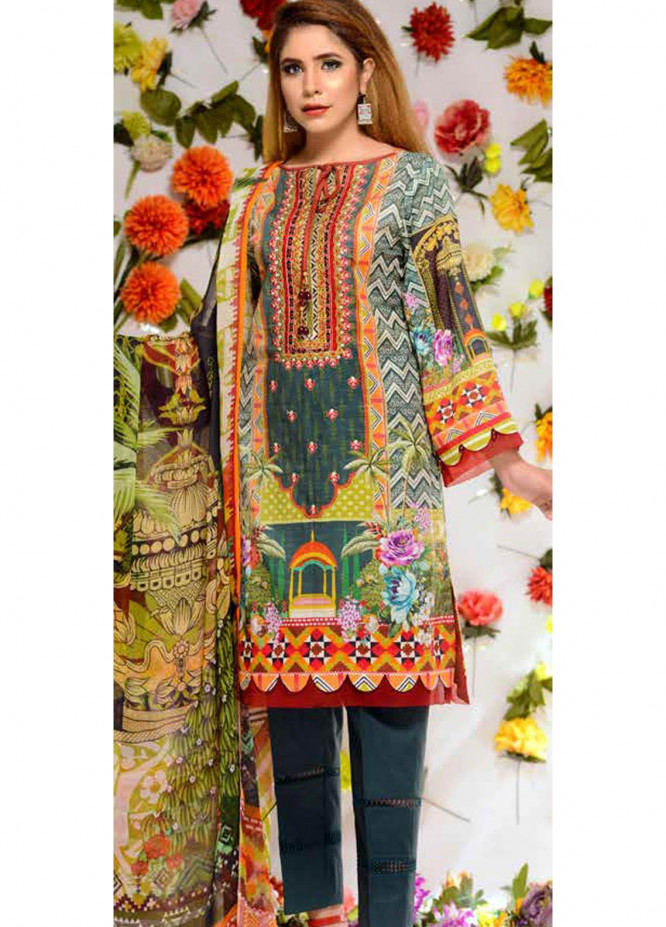 Orchid by Zebaish Embroidered Lawn Suits Unstitched 3 Piece ZSH21O 03 LUSH FOREST - Summer Collection