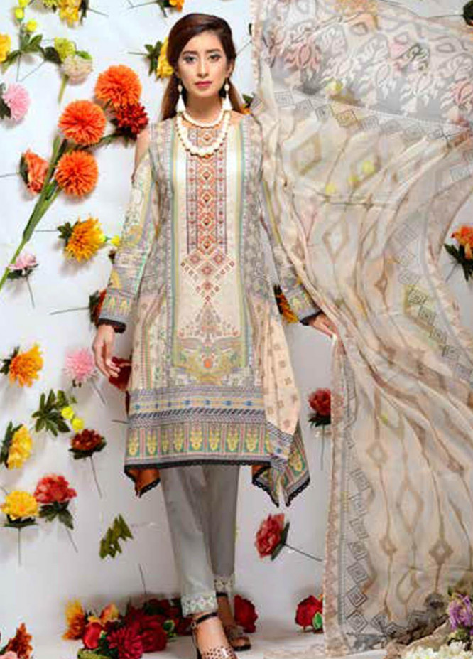 Orchid by Zebaish Embroidered Lawn Suits Unstitched 3 Piece ZSH21O 08 SERENE HUES - Summer Collection
