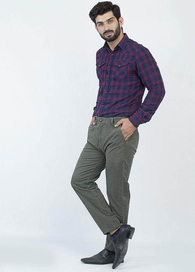Oxford Cotton Formal Chinos for Men -  1953 OLIVE