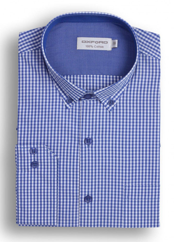 Oxford Cotton Checked Men Shirts - Dark blue Mens formal shirts SH 1408 BLUE CHECK
