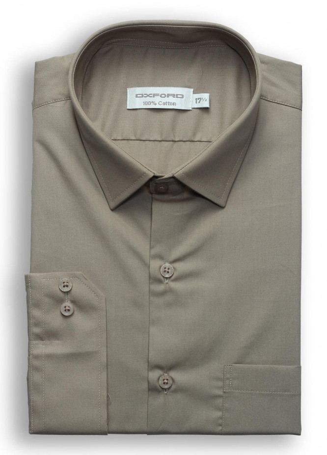 Oxford Cotton Plain Texture Men Shirts - Brown SH 1184-2020 LIGHT BROWN