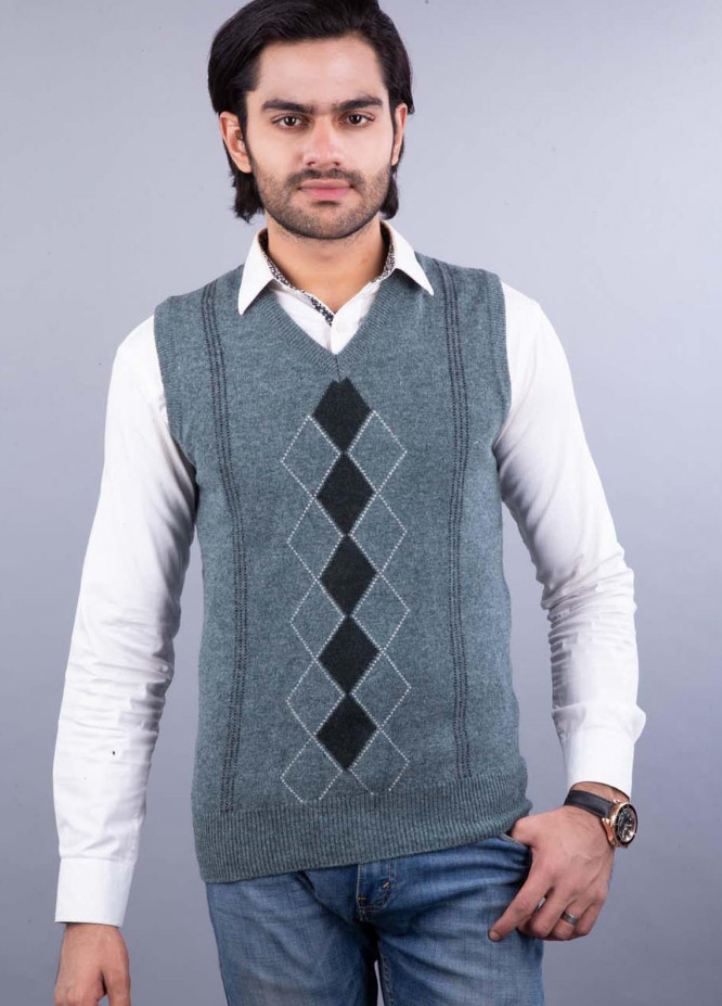 Oxford Lambswool Sleeveless Sweaters for Men -  517 LMB S-L L OLIVE