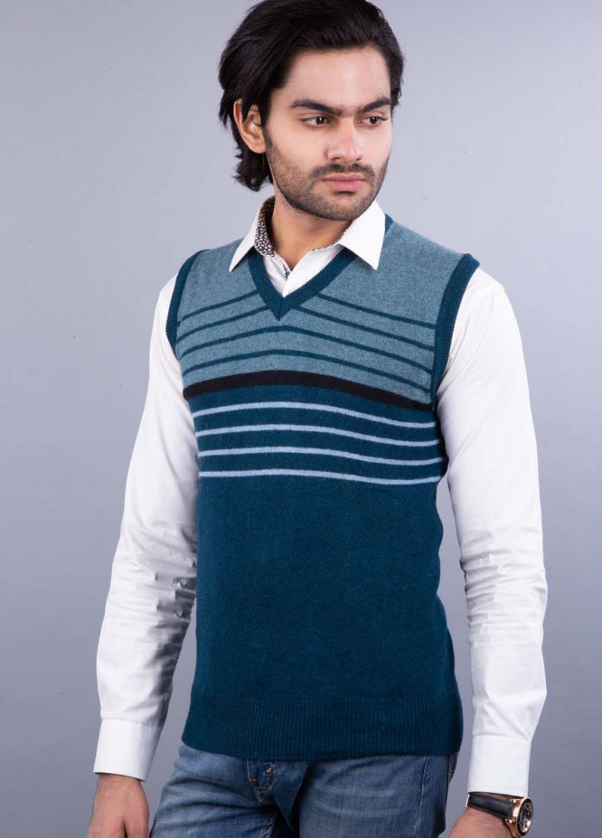 Oxford Lambswool Sleeveless Sweaters for Men -  521 LMB S-L PETROL