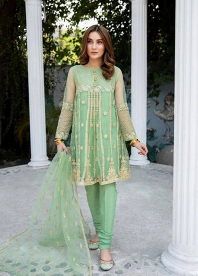 Panache Apparel Luxury Pret Embroidered Net Frock EMERALD