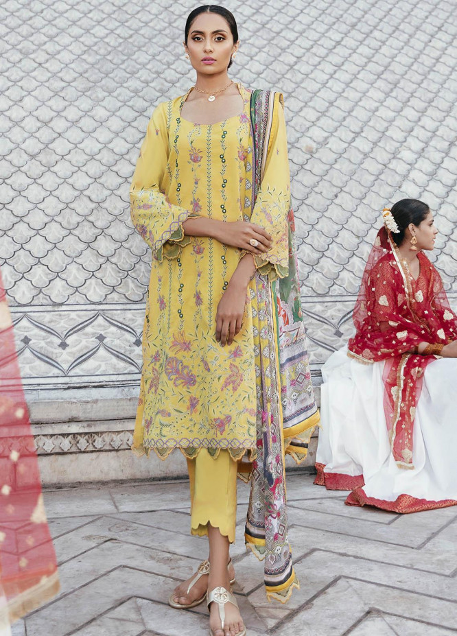 Dastaan By Panache Embroidered Lawn Suits Unstitched 3 Piece PN21D 10 - Luxury Collection