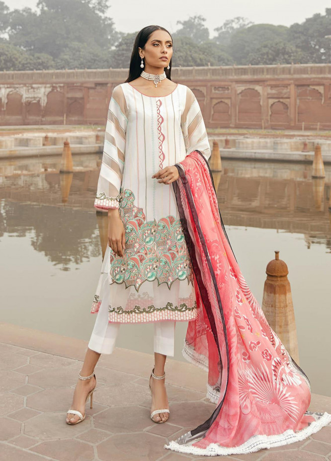 Dastaan By Panache Embroidered Lawn Suits Unstitched 3 Piece PN21D 12 - Luxury Collection