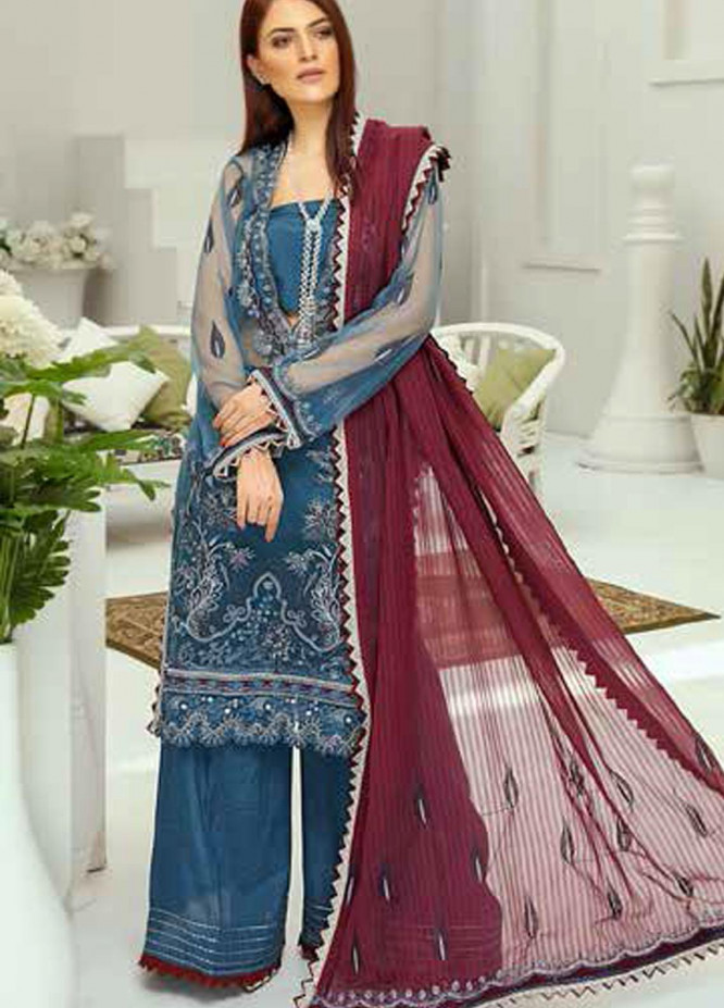 Panache by Puri Fabrics Embroidered Net Unstitched 3 Piece Suit PCH20W 02 - Wedding Collection