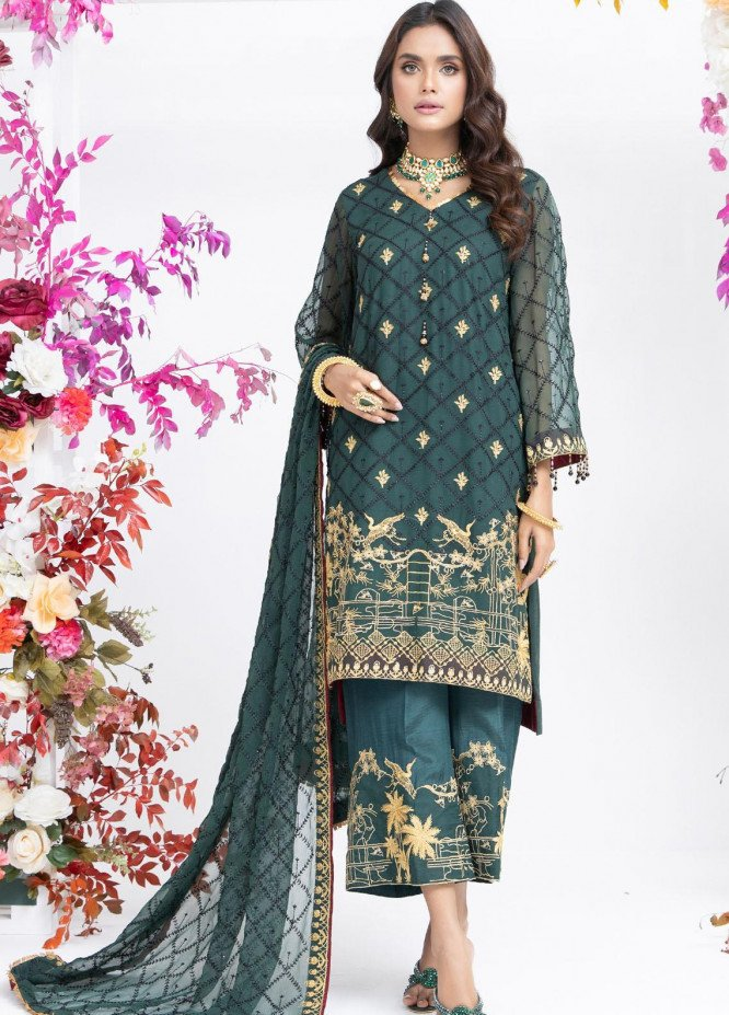 Parishey By Zaaviay Embroidered Chiffon Suits Unstitched 3 Piece KAINAT - Luxury Collection