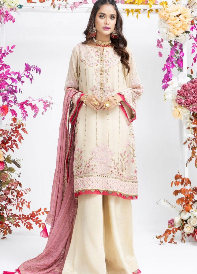 Parishey By Zaaviay Embroidered Chiffon Suits Unstitched 3 Piece MOTI - Luxury Collection