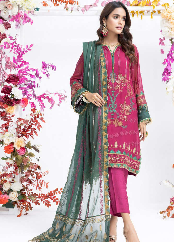 Parishey By Zaaviay Embroidered Chiffon Suits Unstitched 3 Piece PHOOL - Luxury Collection