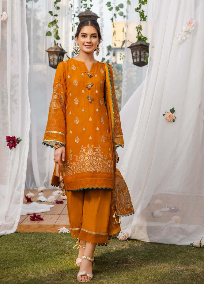 Parishey By Zaaviay Embroidered Chiffon Suits Unstitched 3 Piece ZV21P FIRUZ - Luxury Collection