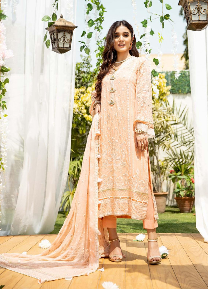 Parishey By Zaaviay Embroidered Chiffon Suits Unstitched 3 Piece ZV21P HOORIYA - Luxury Collection