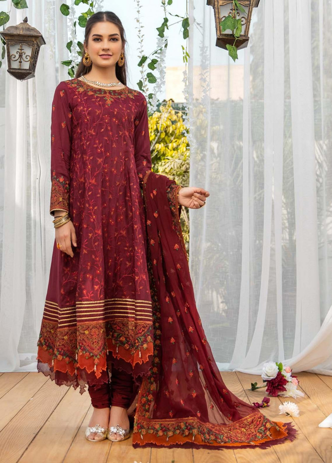 Parishey By Zaaviay Embroidered Raw Silk Suits Unstitched 3 Piece ZV21P NOORMEH - Luxury Collection