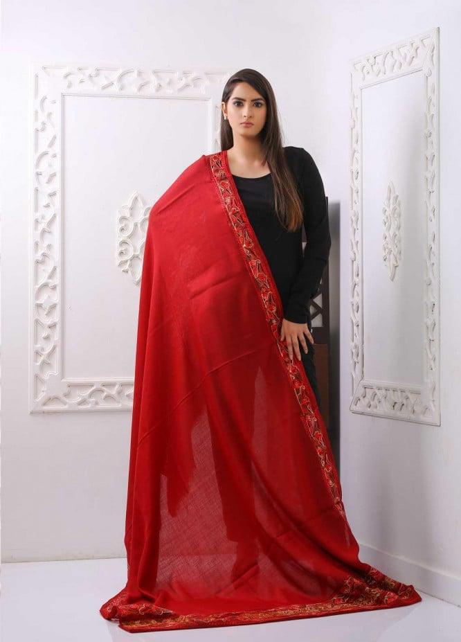 Sanaulla Exclusive Range Embroidered Pashmina  Shawl PMSH 323542 - Pashmina Shawls