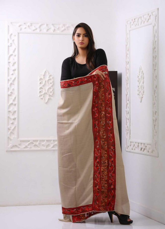 Sanaulla Exclusive Range Embroidered Pashmina  Shawl PMSH 323545 - Pashmina Shawls