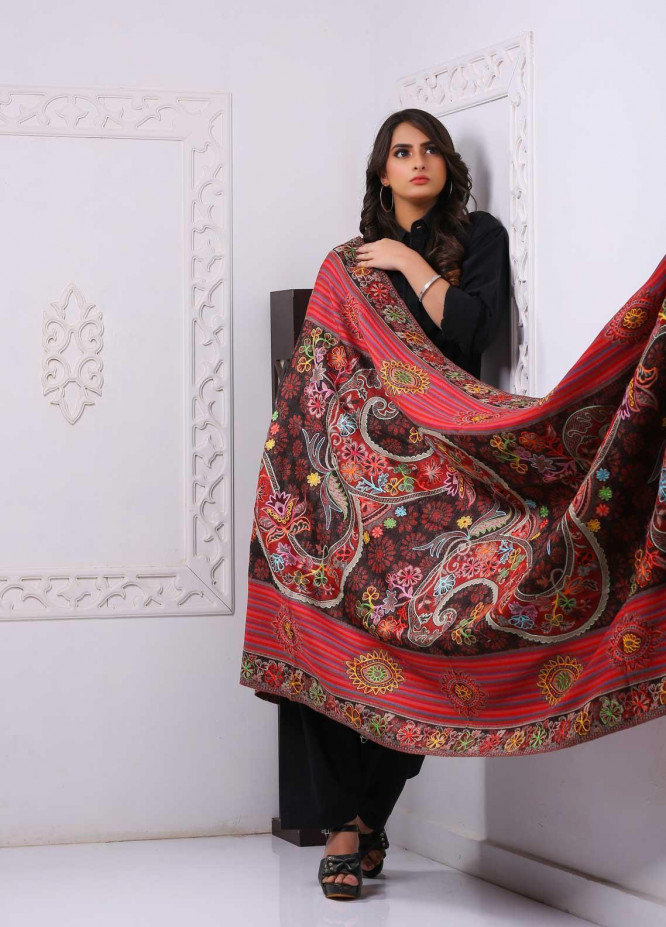 Sanaulla Exclusive Range Printed and Embroidered Pashmina  Shawl PMSH 323802 - Pashmina Shawls