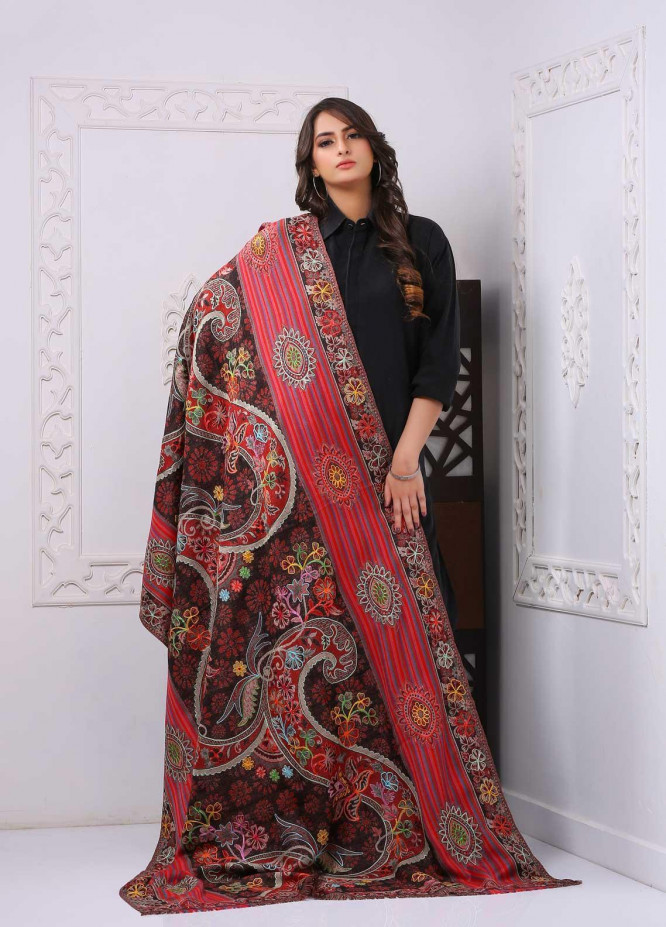 Sanaulla Exclusive Range Printed and Embroidered Pashmina  Shawl PMSH 323803 - Pashmina Shawls