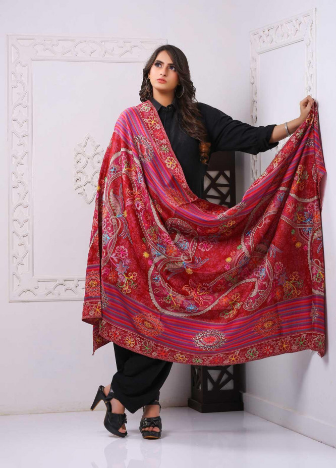 Sanaulla Exclusive Range Printed and Embroidered Pashmina  Shawl PMSH 323805 - Pashmina Shawls