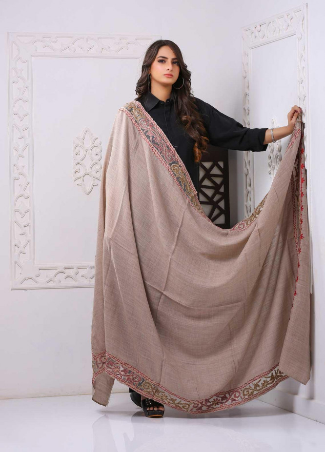 Sanaulla Exclusive Range Embroidered Pashmina  Shawl PMSH 323817 Cut Work  - Pashmina Cut Work Shawls