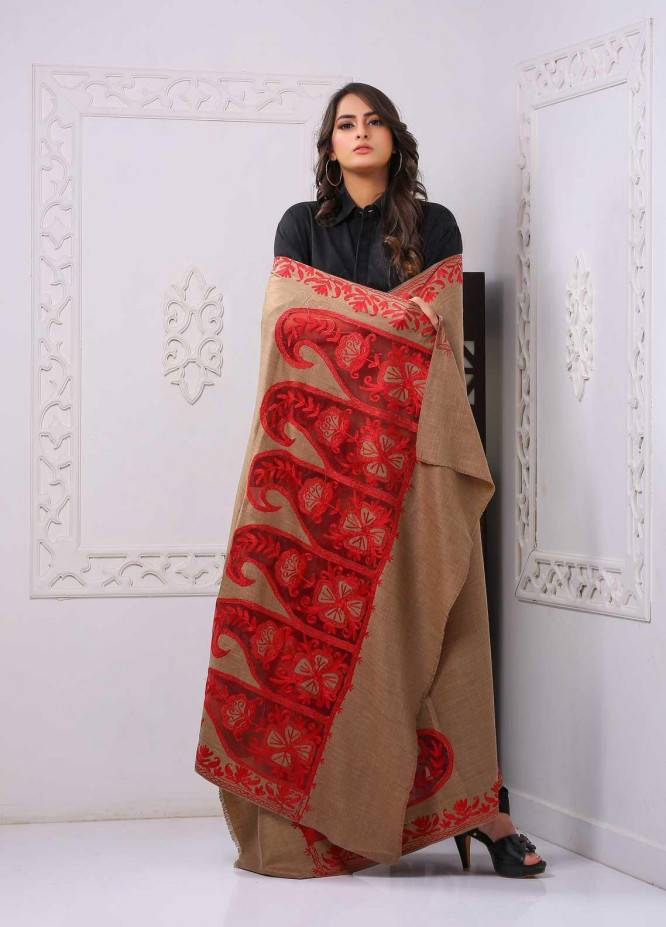 Sanaulla Exclusive Range Embroidered Pashmina  Shawl PMSH 323851 Cut Work  - Pashmina Cut Work Shawls