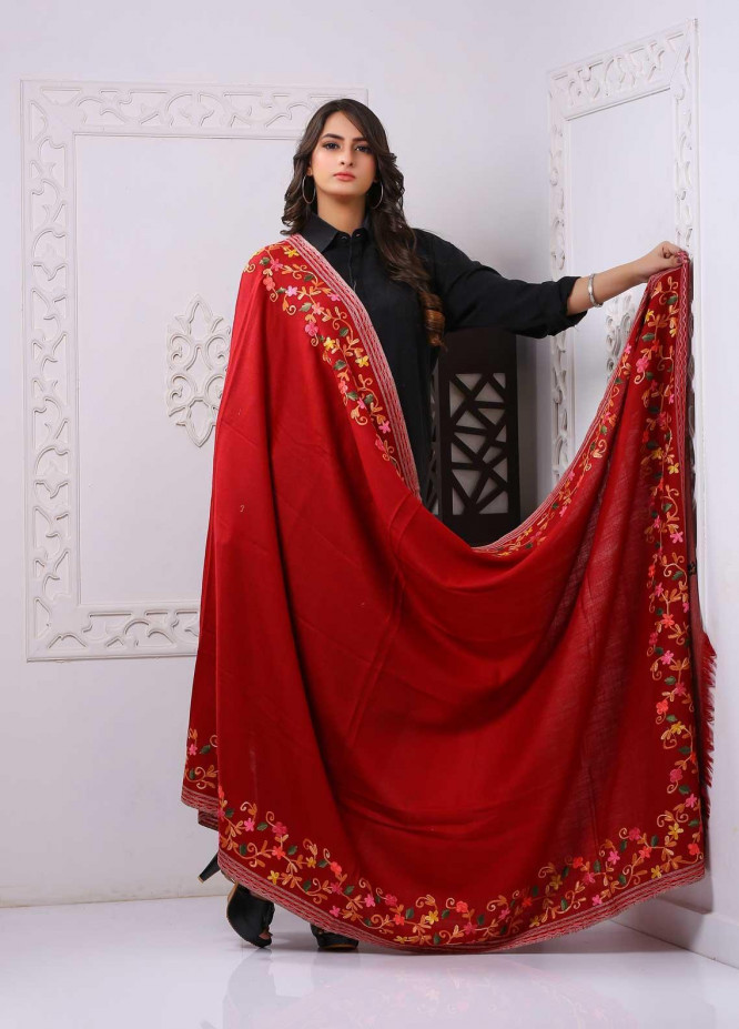 Sanaulla Exclusive Range Embroidered Pashmina  Shawl PMSH 323932 - Pashmina Shawls